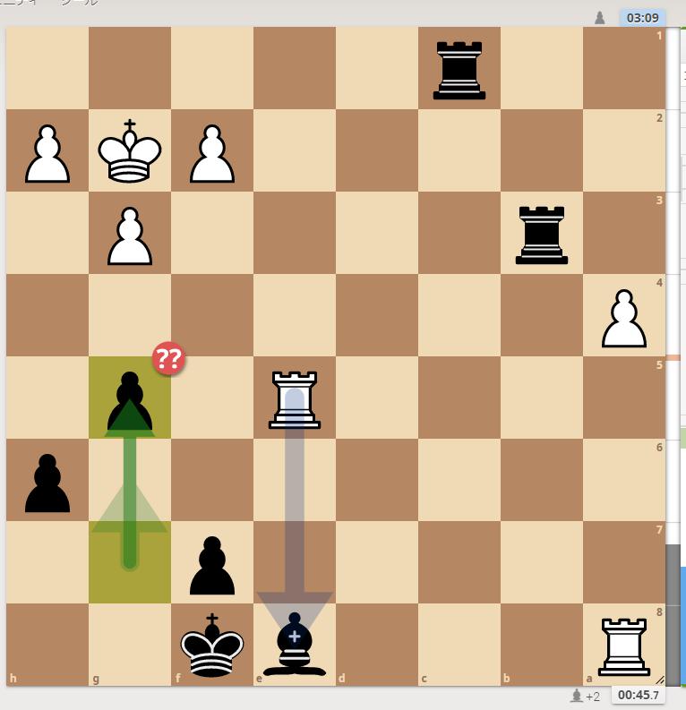 終盤の考え方が分かりません。黒Pg5と急いだのですが、悪手で、黒Pg6が良いようです。これはどう考えればよろしいでしょうか? 宜しくご教授ください<(_ _)> Rapid1300台後半です。 ※ヒューマンスキルの低い方の回答はお断りしております。 #チェス #チェスjp #chess
