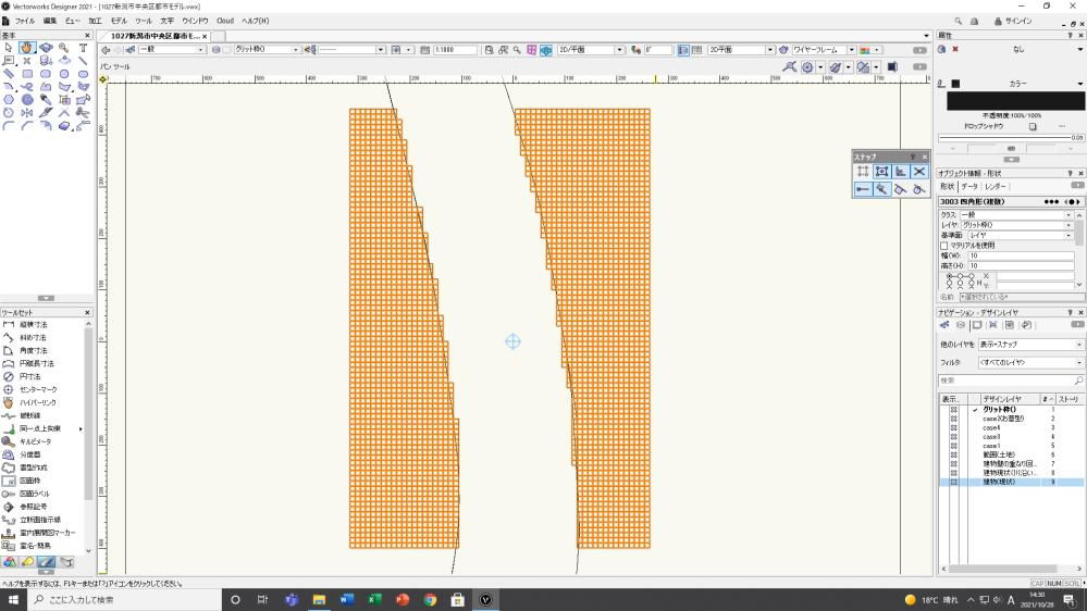 こちらの画像で交点の数が知りたいのですが、計算などがわからなくて困っています。求められる人がいましたら、教えてください。 ちなみに、四角形の数は、3003個あり、左側が1443個、右側1560個あります。