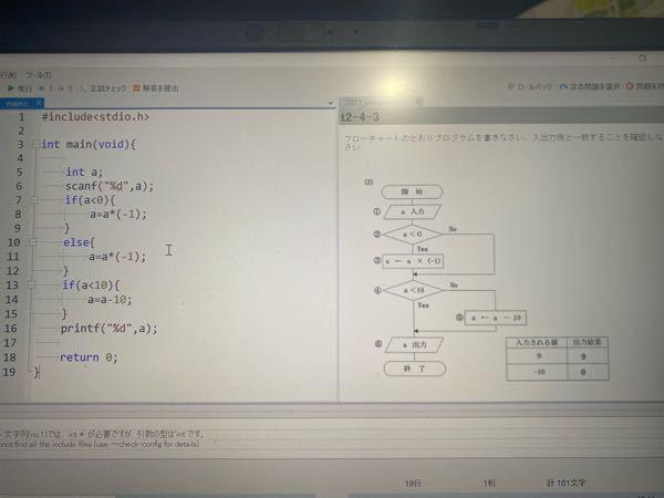 C言語について これが間違っているのですが、右のフローチャートにするにはどうすれば良いですか?