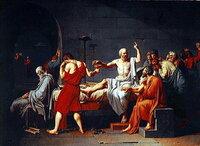 """美術絵画ダヴィッドの「ソクラテスの死」について この作品は""""安定した構図""""があると聞きました、それはいったいどのようなところに由来するのでしょうか? 左右のバランス、個々の構成要素、人物の配置、光の扱いについて教えていただきたいです>< ダヴィッドの「ホラティウス兄弟の誓い」との構図の異なる点にも教えていただきたいです、 よろしくお願いいたします。"""