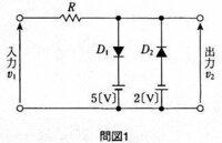 電子回路の問題です。 解き方が分かる方がいましたら、回答+簡単な解説宜しくお願いします! ダイオード(D1、D2) 抵抗Rと+-10[v]の正弦波交流電源V1から構成される回路において、各設問に答えなさい。ただし、ダイオードは理想的な特性を有するものとし、順方向に0.6[v]以上の電圧がかかると導通(ON)し、その内部抵抗は0[Ω]とします。  設問1:ダイオードD1,D2のいずれか1...