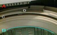 全自動洗濯機の構造に詳しい方、 洗濯機の掃除をしたいと思っているのですが どこまで水を入れて大丈夫なのか心配なので教えてください。  1ヶ月に1、2度のペースで塩素系のクリーナーで掃除していましたが Cの隙間を覗くと、カビっぽいのが見えるのでここも掃除したいと思っています。  Aは注水口、Bは自動で給水される(満水62L)限界の水位なので、 Cまでバケツで水を入れてみたいと思っ...