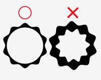 イラストレーター、パスの変形・ジグザグについて (Mac OS X イラレCS4 を使用) 楕円形ツールで作った円をジグザグの効果で外周を滑らかにジグザグにしました。 そのオブジェクトの内側をパスファインダーで円形に切り抜きました。 ここで問題が起きたのですが、今までは何の問題も無く内側を円形に切り抜くことが出来たのですが、今回は下記の「添付画像の右」のように切り抜いた部分までジグザグに...