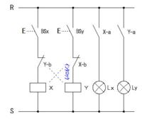 インターロック回路の押しボタンスイッチの数を増やす場合の結線方法を教えて下さい。 押しボタンスイッチを2つから3つ、4つと増やす場合、並列に接続するだけで良いのでしょうか? また、リレーのB接点はどのように接続すれば良いのでしょうか? 回答よろしくお願いします。