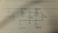 電気回路の問題です。 電流I1、I2、電圧V1、V2、a-b間の端子電圧Vabが分かりません。   解説をよろしくお願い致します。
