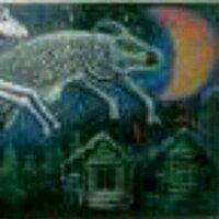 どなたか絵の名前を教えていただけないでしょうか? 夜空に、三日月と白い?トナカイ?牛?馬?が二匹?。一頭は首をかしげています。絵の右下に木造?の家が二棟描かれています。左下には針葉樹?これでわかりま...