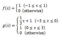 畳み込み積分の問題を解いて欲しいです! 畳み込み積分の計算方法がよくわかりません。 以下の問題の回答をお願い致します。  【問題】 次のf(x)、g(x)より、畳み込み積分f(x)*g(x)を求めよ。
