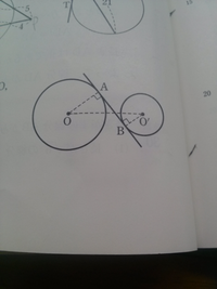 線分ABの求め方を教えてください。  【問題文】 直線ABは2つの円O,O'の共通接線で A,Bは接点である。 円O,O'の半径はそれぞれ5,3であり、 OO'=10である。 線分ABの長さを求めよ。   結構急いでます。 よろしくお願いします。