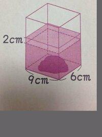 小学生の体積の問題を教えて下さい。  図のような水の入った直方体の入れ物に石をしずめたら、水面が2cm上がりました。 この石の体積は何㎤ですか。