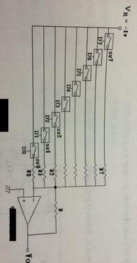 DA変換器のバイナリー抵抗型の問題です! 8bit DA変換器をアナログSW8個とOPAmp1個、抵抗9個を使い作成し、最大出力電圧が2.55Vになるようにしたい。 その場合各部分で使う9個の抵抗器がどんな抵抗値か求めなさい。(VR=-1V、アナログSWは論理1でON)  できるだけ詳しく説明お願いします!
