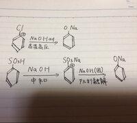 有機化学のフェノールの合成の所で質問です。 写真の様にクロロベンゼンに高温高圧の水酸化ナトリウム水溶液を加えてOH^(-)をぶつけて反応させると、一瞬フェノールができ、すぐにNaOH水溶液に中和され、ナトリウ...