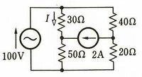 この回路を節点解析法で解いた場合電流Iはどうなりますか。 途中式も書いていただけるとありがたいです。 答えは0Aです。