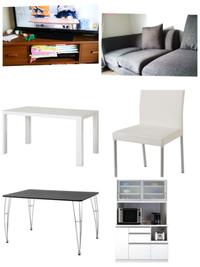 ダイニングテーブルの色について。 画像のようにソファーは布張りの焦げ茶色、テレビボードは木製の茶色、キッチンボード、冷蔵庫は白です。  そこに白のダイニングテーブルと白の椅子は合いますか!?茶色のダイニ...