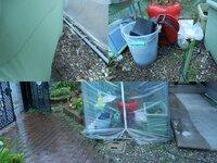 ビニールハウス内の湿気対策 現在家の庭でビニールハウスを使っての家庭菜園をしていますが写真のようになっていてすぐに湿気てしまいます。湿気ているせいかすぐに疫病になったりナメクジが発生してしまいます。...