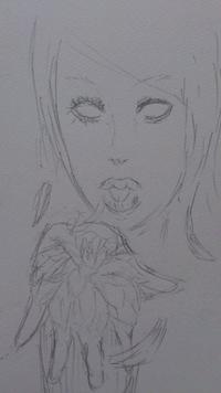 手の上にある花に向かい息を吹きかける絵を描きたいんですが、描き方のアドバイスください
