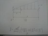 図のような三角形分布荷重を受ける単純梁のたわみ曲線が、式のように与えられることを示してください!