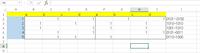 エクセルで(添付したファイルをご覧下さい)例えばa1はブランク、b1は1、 c1はブランク、d1は1なので、j1に0101と表記したいのです。 関数などを使用して一発で表記できるやり方があれば教えてもらえますで...
