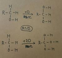 アルデヒドからカルボン酸への酸化では酸素は加わります。ですが、下の写真のように、第一級アルコールを酸化させてOを加えて、ヒドロキシ基以外のHをヒドロキシ基にすることはできません。なぜですか?(ノートの...