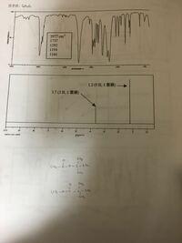 写真のIRとNMRのスペクトルから構造を決定するという問題を考えています。分子式はC6H12O2です。 分子式とNMRから、写真下の二つの構造のどちらかであることは分かるのですが、どちらなのか判別する方法が分かりません。どうか教えてください。