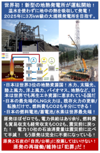 『世界初! 資源影響なしの新型の地熱発電所! 日本一の温泉県で運転開始! 』2017/2/28  → 地中の熱を吸収して発電する実証プラントの発電能力は、現在24kW 2025年をめどに3万kW級の大規模な発電設備の建設...