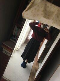 季節感がないですが良いですよね?? 髪は短めで一つにまとめてあり、春物だけどこの服と合わせると一気に秋っぽくなるリボンが付いています。  スカートはスウェット生地で冬物です。 アウターはなしです。