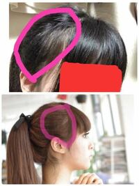 ポニーテールをした時の生え際について教えてください。 画像(上は私です。下は理想の参考画像です。)の上のピンクで囲ってある場所は下の画像と比べて生え際の髪が少なく感じます。 下の画像のピンクで囲ってある場所のように頭の地肌が見えないようにポニーテールをするにはどうすればいいでしょうか?  ポニーテールで結んでいる位置はどちらも同じ高さです。