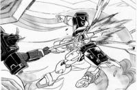 機動戦士クロスボーン・ガンダムでザビーネがキンケドゥにコクピットにビームサーベルを直撃 させるシーンで小説版F91でもアンナマリーとザビーネが戦うシーンでアンナマリーのダギ・イルスと組み合う展開は同様ですがそこで損傷はなく、ザビーネが密着した状態で両機の間にビームシールドを展開(ザビーネ機の装甲も焼ける)し目眩ましをし、ダギ・イルスのコックピットにビームサーベルを直撃させたシーンのオマージュ...