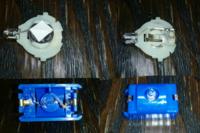 白いやつに付いているLED電球と青いやつに付いているLED電球を交換したいと思っています。 ですが、青いやつに付いているLED電球には抵抗が付いていること、青いやつは乾電池、白いやつはボタン電池を使っていた...