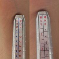 このリングゲージの見方がわかりません。それぞれどのラインが何のサイズを図るものなのか教えてくれませんか。