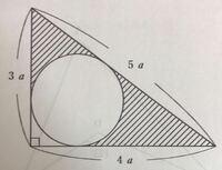 円周率をπとすると、斜線部の面積はどう表せますか?