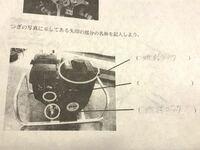 高校のエンジンの実習で写真にある エンジンの名称を答えなさいと言う問題で 真ん中の( )の名称が写真が見えにくくて 全然わからなくて困っています。 だいたいでなんと言う場所かわかる方が いれば回答よろしくお願いします。