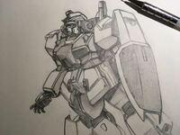 メカデザイナー志望の工業高校1年生です。 シャーペン1本(STEIN 0.3)で『ガンダムMK-Ⅱ』を描いてみました。  評価お願いします、辛口でも大丈夫です!