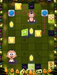 論理的に考えるのが得意な方、お願いします。 図のパズルを解いていただけないでしょうか。 get teddyというスライド迷路パズルの world3の22番目の問題です。 ルール 赤ちゃん、移動ブロックを合わせて9回のスライドで 星を3つ取りつつクマのところまで持っていく (星を取れるのは赤ちゃんのみ)  水色のボタンはスイッチになっていて ボタンを通ると 赤い線でつながっているブロックの絵が...