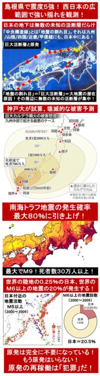 『島根県で震度5強! 西日本の広範囲で強い揺れを観測!』2018/4/9 1:37  ⇒ 島根原発は大丈夫か? → 島根原発を含むこのエリアは、京大の西村准教授の研究が示すように、巨大活断層が下を走っている。 まさ...