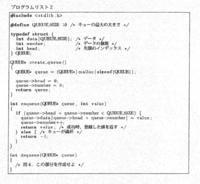 以下のC言語に関する問題の解答例を教えていただきたいです. よろしくお願いいたします. ------------------------------------------------------------------------------- 問4 キューは、データを格納する関数enqueueとデータを取り出す関数dequeueを持つ。プログラムリスト2は、図1の動作イメージに基づき...