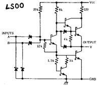 論理回路 IC 74LS00 NAND回路  この回路の動作を言葉で説明して教えてください