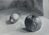 油絵の密度をあげるとは? 指導してくださっている方からは  リンゴとレモンの密度が足りない 台がしみだらけに見えるので台の質感と明暗を整理すること  と指摘を頂いています。 台はまだなんとかなりそうですが 密度をあげるというのが具体的にどうすれば密度が上がるかわかりません。フラットな画面で仕上げようと思ったら明暗で描き分けるしかないんじゃないんですか?それともフラットでも明暗以...