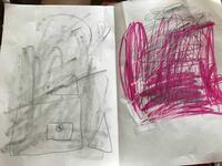 お姉ちゃんの子供がこんな絵を書いたそうです。 その子になんの絵を書いたのか聞いたら、左が地震で家が壊れる絵、右が火事で家がもえてる絵と言っていました。 その子は今5歳で、地震や火事にはそんなに詳しくな...