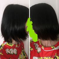 【大至急】美容室で酷い髪型にされました。 切りっぱなしの重たいボブだったので、毛先だけ軽くしてもらおうと美容室に行きました。  切ってもらった結果、勝手に段をつけられ、写真のように左右非対称で、写真左側の方向が特にひどいです。段差が激しく、スッカスカで、はねてはねてしょうがないです。耳にかけてごまかそうとしてもはねるし、姫カットみたくなります。  今日美容室に行くのですが、どう直してもらえば...