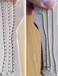 レトロな腕ミシンを購入しました 押さえがローラーになっており試しに両面銀面になるよう張り合わせたヌメ革を縫ってみたところ、ローラー押さえの跡と、送り歯の跡が付きこれが普通なのかわかりません もし何か対策があれば教えて下さい