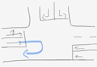 図のような交差点で青矢印のような転回は出来ますか? この図以外に指定方向外進入禁止や転回禁止等の標識はないものとして回答をお願いします。