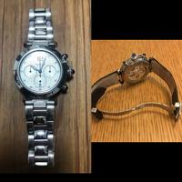 カルティエの時計について教えてください。  こちらの時計(左)のベルト部分を 右側の様な革ベルトに交換することは可能でしょうか?  またカルティエに出した場合、 だいたいの金額が分 かる方がいたら教...
