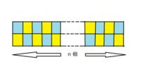 図のように、2×n 個のマスがある。 全ての水色のマスの中に、それぞれ 〇 か ● か △ を 一つずつ次のルールに従って入れる。 どの黄色の箱も、隣の箱の中に 〇 と ● が少なくとも一つずつ入る。 n = 3k のとき、何通りの入れ方がありますか ?  途中経過もお願いします。
