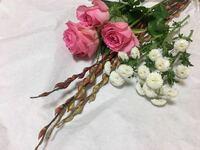 これらの花と枝の名前を教えてください バラと白い菊みたいな小さい枝分かれした花とこの枝の名前が思い出せません( ; _ ; )  またそれぞれのドライフラワーのコツや向いているか向かないかを教えていただけると...