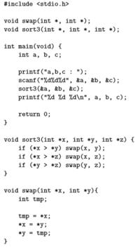 c言語についてです。 3つの入力した数字を、昇順に並べ替えるプログラムなのですが、このプログラムの、 void sort3…と、void swap… 内では、どのようなプロセスで、数字が並び替えられているのでしょうか。よ...