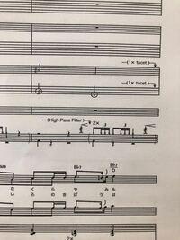 andropさんのhikariという楽曲のバンドスコアのドラムの部分に載っているんですが、 「high pass filter」とはどういう意味ですか? あと、high pass filter と書いてある下に書いてある線に斜め線が3本引いてあ...