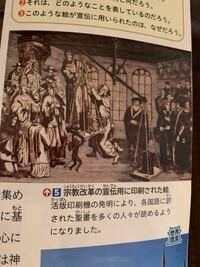 写真にもある、宗教改革の宣伝用に印刷された絵に書いてある天秤の上に掛かっているものはなんでしょうか?