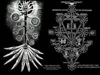 エヴァについてです。 エヴァに生命の樹という物が出てきて気になり、画像検索したのですが2種類出てきました。どっちが何を表しているのでしょうか。教えてください。 画像はこれです