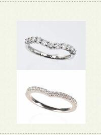どちらのハーフエタニティがいいと思いますか? 華奢なデザインの婚約指輪が最近ちょっと寂しいかな?と思い始め、重ね付け用のエタニティリングを購入検討しています。いくつか候補があったのですが、最終的にこの二つになりました。(検討したのはティファニー、ショーメ、オレフィーチェのV字エタニティですが、前者二つは結構ごついデザインなので婚約指輪よりも主張が強くなるかな?と思ってやめました。オレフィーチ...