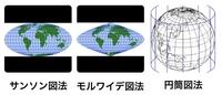地理Bです。  サンソン図法の高緯度の方がモルワイデ図法よりも尖った形をしていますが両方円筒図法です。 同じ投影法なのに形が違うのはなぜですか?